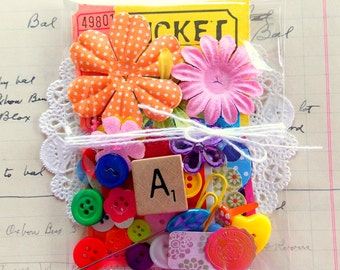 Mini Vintage Inspired Junk Journal Embellishment Kit / 40 Pieces