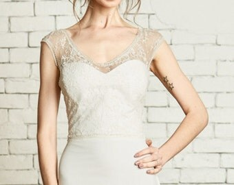 "Chantilly Lace Bridal Top with Portrait Ballerina neckline, cap sleeves, the ""Amelia"" CUT TO ORDER"