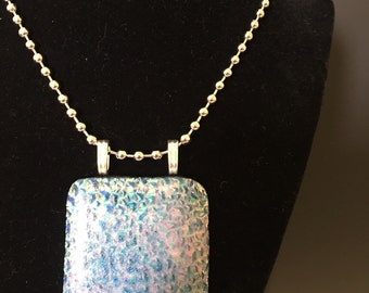 Fused glass pendant dichroic glass