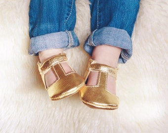 Metallic Gold T-Strap Shoes Handmade Baby Moccs