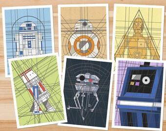 """Deco Droids 5x7 """"Postcard"""" pack"""