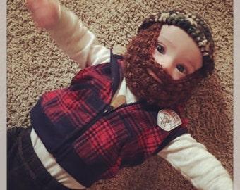 Beard Hat, Baby Beard Hat, Beard Baby Hat, Hat with Beard, Beard Beanie, Beanie with Beard, Baby Beanie with Beard, Baby Hat, Beard Baby