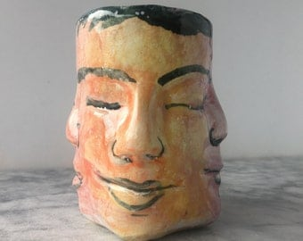 Ceramic Face Cup, Four Winds Wabi Sabi Bodhisattva Head Sculpture Yunomi Majolica Glaze Painting