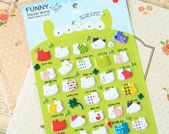 Rabbit cartoon animal puffy stickers