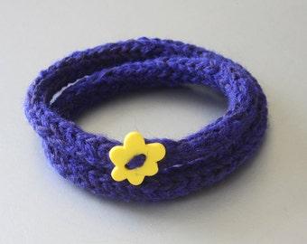 Knitted Wool Bracelet - Dark Blue Bracelet - Friendship Bracelet - Teen Bracelet - Cotton Bracelet - Hippie Bracelet - Knitted Bracelet