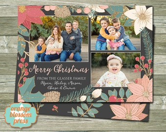 Floral Christmas Card, Photo Christmas Card, Holiday Card, Gold Glitter, Glitter Christmas Card, Personalized Christmas Card, Printable