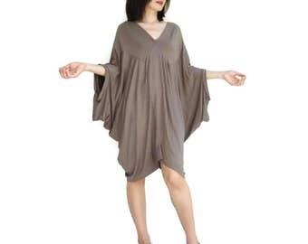 Funky Boho Deep V- Neck Brown Rayon Jersey Patch Tunic Midi Dress With Asymmetrically Bottom Hem Women Dress Fit Size 6 to 2X