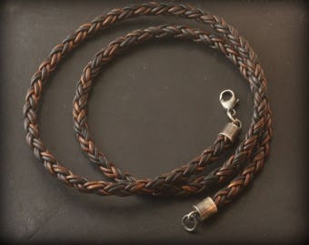 Mens Leather 5mm Necklace, Braided Leather, Rustic Necklace for Pendant, Sterling Silver, Brown Black Braid