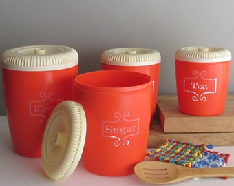 vintage canister set - orange and white