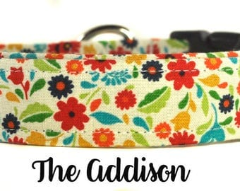 "Colorful Spring Floral Dog Collar ""The Addison"""