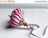 Peppermint Earrings, Candy Earrings, Christmas Earrings, Vintage Earrings, Sterling Silver, Winter Holiday, Dangle Earrings