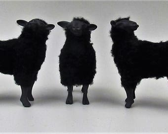 Doll House Scale Black Sheep in Porcelain and Wool  1
