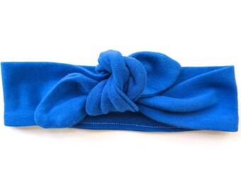 Royal Cobalt Blue Baby Headband - Top Knot Headband - Stretch Headband - Modern Style - Boho Baby - Deep Blue - Tropical Style