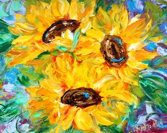 Sunflower Joy abstract painting original oil on canvas palette knife 12x16 impressionism fine art by Karen Tarlton