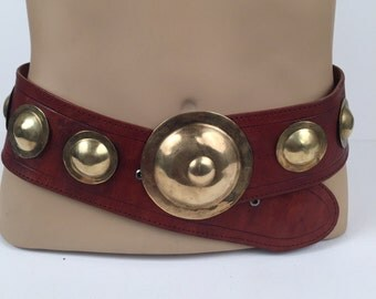 Vintage Four Winds Brown Leather Belt with Brass Rounds