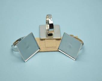 20pcs Adjustable Antique Silver Ring Blanks 20mmx20mm