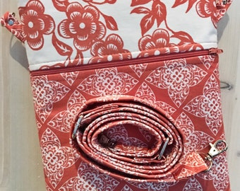 Coral iPad Purse Sleeve Case Orange Peach Lace & Floral  Cross Body Shoulder Strap Ready to Ship Mini iPad Laptop Device