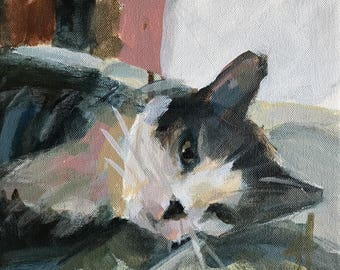 Claire the Cat no. 10 Original Acrylic Painting by Angela Moulton 8 x 10 inch