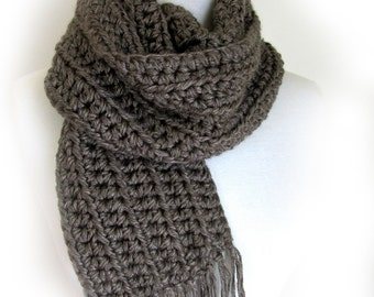 Grey Knit Scarf - Taupe Gray Crochet Scarves - Mens Winter Scarf