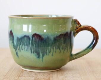 Jade nebula mug with worry stone thumb rest