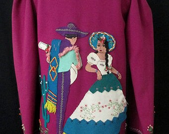 """Awesome 1940's Mexican Tourist Jacket with Hand Appliqué Images by the famous """" Berty of Mexico"""" VLV Rockabilly Vintage Western size Medium"""