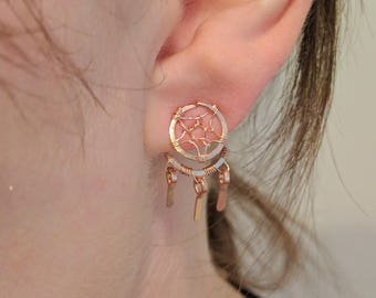 Rose Gold Dreamcatcher Ear Jackets - 14k Rose Gold Fill