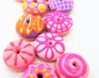 Donuts Miniature Polymer Clay Foods Supply for Beaded Jewelry and Dollhouse Collection 10 pieces