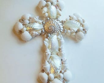 Seashell Cross, Rhinestone Abalone