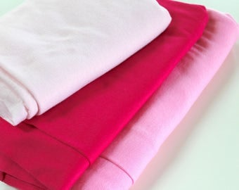 Pink Knit Fabric - light beige pink soft stretch knit bright pink t-shirt tube knit - apparel fashion dress shirt fabric 5 yards