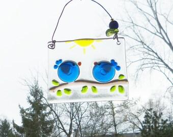 Love Birds // BLue Birds of Happiness // Fused GLass Birds // Suncatcher // Cobalt // Sun Catcher // Wedding // Sunshine// Anniversary// Fun