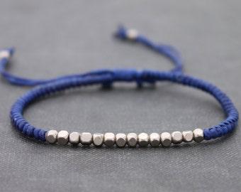 Blue Silver Cube Adjustable Men Unisex Woven Friendship Bracelet