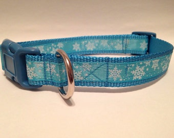 LARGE Frozen blizzard holiday dog collar