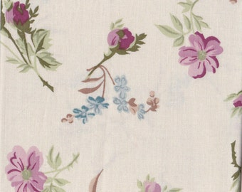 """Mauve And Blue Floral Motif ~  On Off White Background Cotton Fabric ~ Remnant 14"""" x 15"""" ~ 4 Quilt Piecing Patchwork  # A 116"""