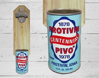 Protivin Wall Mounted Bottle Opener with Vintage Czech Beer Can Cap Catcher