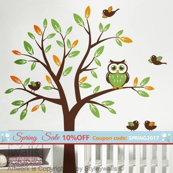 Owl Tree Wall Decal, Tree with Owls and Birds Wall decal, Owl Tree for Nursery Wall Decor, Owls Tree Kids Room Wall Decal, Owls Tree Sticker