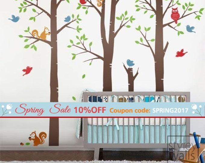 Forest Friends Tree Wall Decal, Forest Animals Tree with Birds Squirrels Owl Wall Decal, Nursery Baby Kids Vinyl Wall Decal Children Sticker