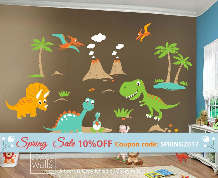 Children Wall Decals Dino Land Dinosaurs Wall Decal Wall - Custom vinyl wall decals groupon