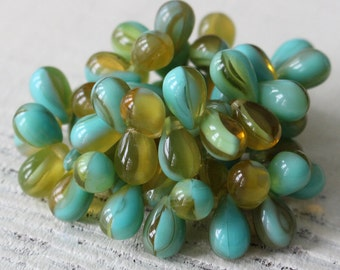 9x6mm Teardrop Beads - Czech Glass Beads - Jewelry Making Supply - 6x9mm  Glass Briolette Teardrop Glass ( 30 Pieces ) Amber Turquoise Mix