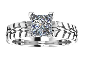 CUSTOM Ladies Narrow Tire Tread Ring with CZ - Sterling Silver