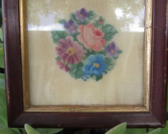 Vintage Petit Point Floral Embroidery with Chippy Frame