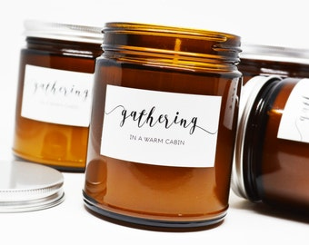 5 Gathering in a Warm Cabin Soy Candles in Amber Glass Jar with Silver Lid - Bulk Purchase