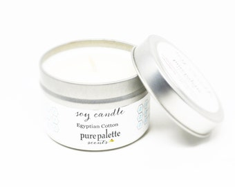 Soy Candle Egyptian Cotton -Travel Tin Candle -  / 4 oz. Scented Candle