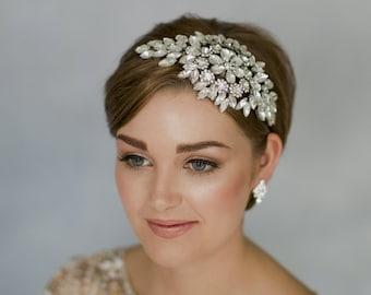 Vintage wedding headband, Gatsby headband, 1920s headband, Deco headpiece, Deco headdress, rhinestone headband, statement headdress - Hattie
