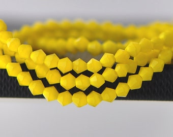 150pcs Crystal Glass Faceted Bicone Beads 4mm, Opaque Yellow- (LZ04-23)