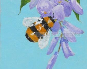 "bumblebee on wisteria original acrylic painting 4"" x 4"""