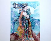 Silk painting- Morning with the Cat- Art- Original painting on silk