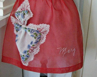 Red Crinoline Vintage Style Half Apron Embroidered Mary with Vintage Cotton Lace Trimmed Hanky Pocket