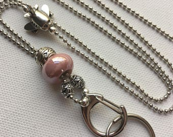 Pink Airplane Lanyard Ball Chain ID Badge with Silver Pandora style beads
