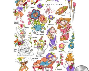 blossom machine embroidery cd machine embroidery collection of designs based on loralies signature fun