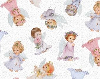 "ANGELS on white Background ~ 100% Cotton Fabric ~ 1/2 yard ~ 18"" x 43"" ~ from Elizabeth's Studio M4118"